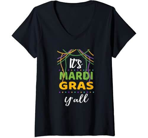 Womens Its Mardi Gras Yall Tshirt Mardi Gras Party Outfit 2020 V Neck T Shirt
