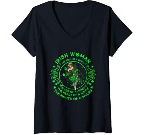 Womens Irish Woman The Soul Of A Witch The Fire Of A Lioness V Neck T Shirt