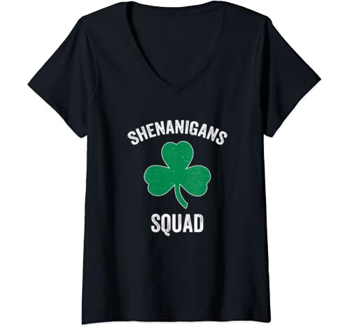 Womens Shenanigans Squad Funny St. Patricks Day Matching Group Gift V Neck T Shirt