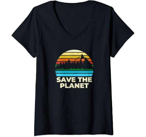 Womens Save Protect The Planet Retro Vintage Earth Day V Neck T Shirt