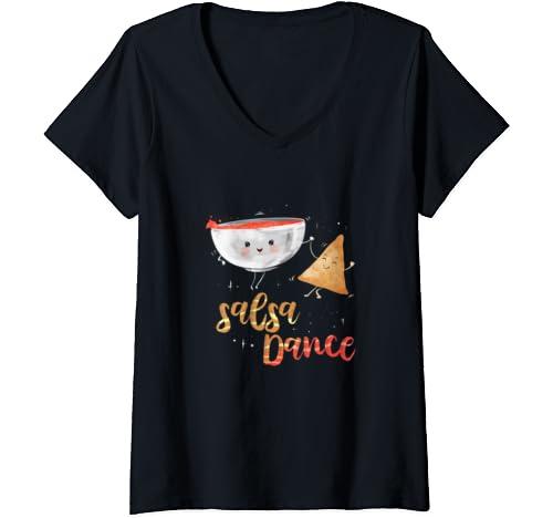 Womens Salsa Dance Pun Dancing Latin Dancer Salsero Valentines Day V Neck T Shirt