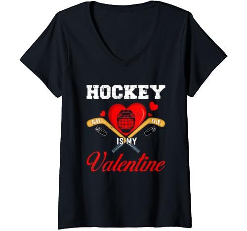 Womens Hockey Is My Valentine Tshirt For Hockey Lover Gifts V Neck T Shirt