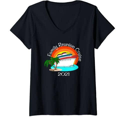 Womens Family Reunion Cruise 2021 Vacation Matching Group V Neck T Shirt