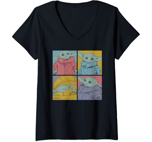 Womens Star Wars The Mandalorian The Child Pop Art Box Up V Neck T Shirt
