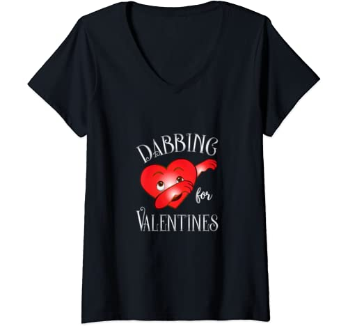 Womens Dabbing For Valentines Day Cute Funny Heart Love V Neck T Shirt
