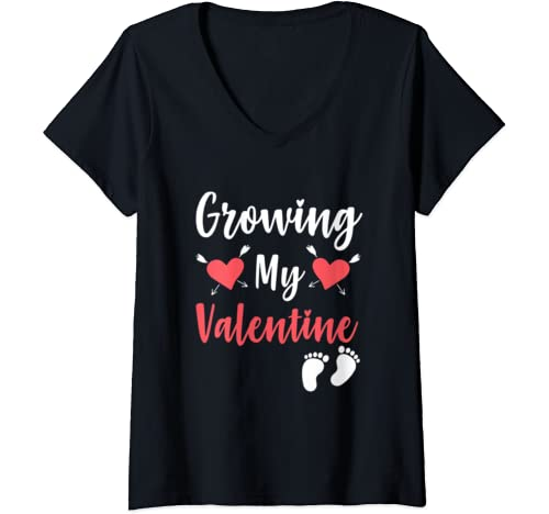 Womens Growing My Valentine  Valentine's Day Pregnancy Announcement V Neck T Shirt