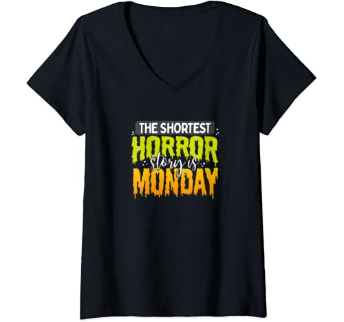 Womens Hate Mondays Gift For Office Workers And Schools Kids V Neck T Shirt