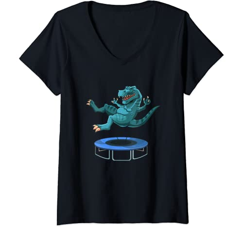 Womens Funny Dinosaur On A Trampoline T Rex Lover Kids Boys Girls V Neck T Shirt