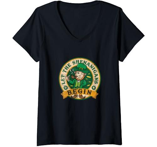 Womens Let The Shenanigans Begin Tshirts St Patrick's Day Irish V Neck T Shirt