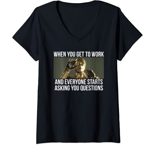 Womens Star Wars C 3 Po Everyone Stars Asking Questions V Neck T Shirt