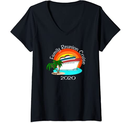 Womens Family Reunion Cruise 2020 Vacation Matching Group V Neck T Shirt