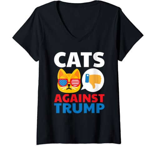 Womens Cats Against Trump Anti Trump 2020 Gift V Neck T Shirt