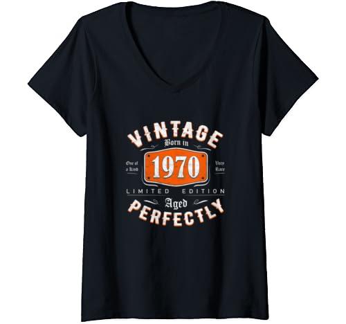 Womens Retro Vintage 1970 Tee 50th Birthday Gift For Men Women V Neck T Shirt