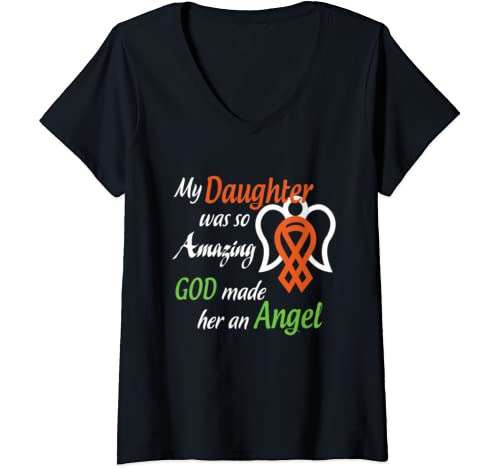 Womens In Loving Memory Of My Daughter T Shirt, Gift For Parents V Neck T Shirt