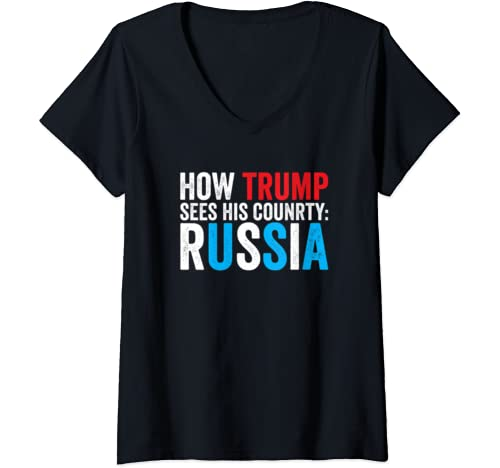Womens Anti Trump Usa Russia   Funny Impeachment Political Quote V Neck T Shirt
