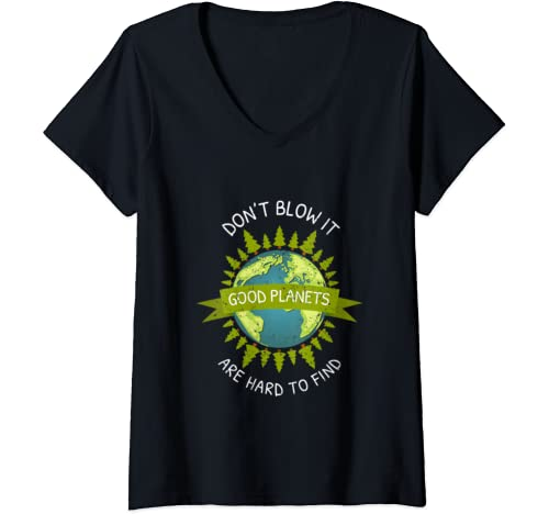 Womens Earth Day Good Planets Are Hard To Find Recycle Gift V Neck T Shirt