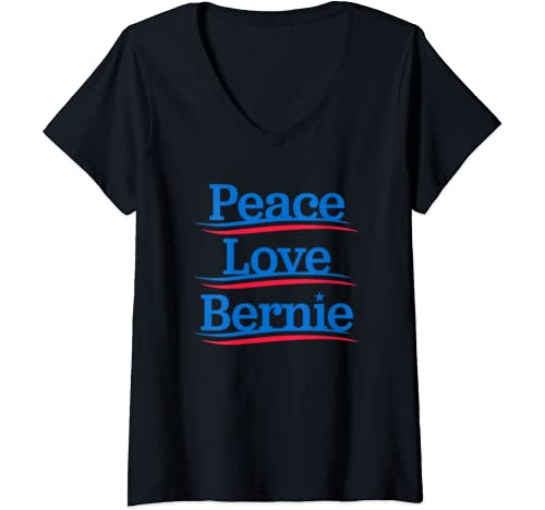 Womens Peace Love Bernie   Bro Sanders Democrat Bern Anti Trump V Neck T Shirt