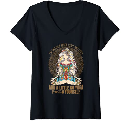 Womens I'm Mostly Peace Love And Light & A Little Go F Yourself V Neck T Shirt
