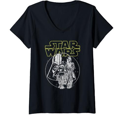 Womens Star Wars Darth Vader C 3 Po R2 D2 Line Art V Neck T Shirt