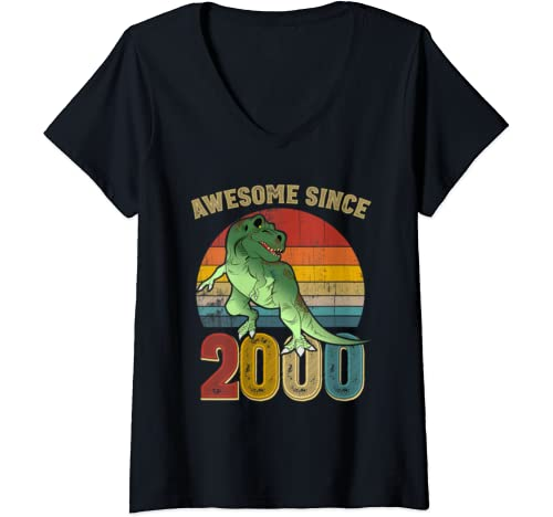 Womens Awesome Since 2000 Mens Womens Vintage 20th Birthday Gifts V Neck T Shirt