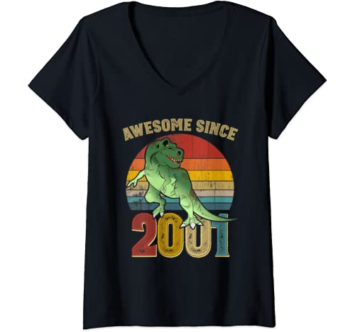 Womens Awesome Since 2001 Mens Womens Vintage 19th Birthday Gifts V Neck T Shirt