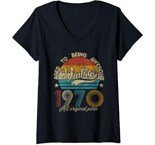 Womens Classic 50th Birthday Gift Tshirt For Men Women Vintage 1970 V Neck T Shirt