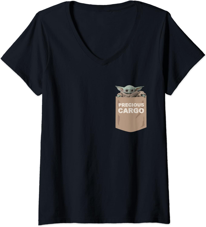 Womens Star Wars The Mandalorian The Child Precious Cargo Pocket V-Neck T-Shirt