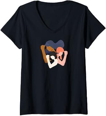 Femme Filles et femmes unité dans la diversité féministe T-Shirt avec Col en V
