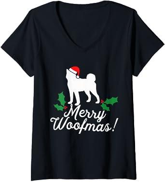 Mujer Merry Woofmas Navidad perro broma juego de palabras ...