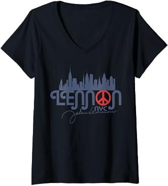 Femme John Lennon - Peace, NYC T-Shirt avec Col en V