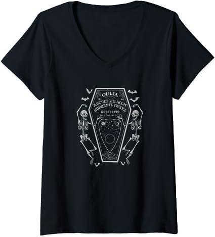 Mujer Ouija Coffin Board Skeletons Camiseta Cuello V