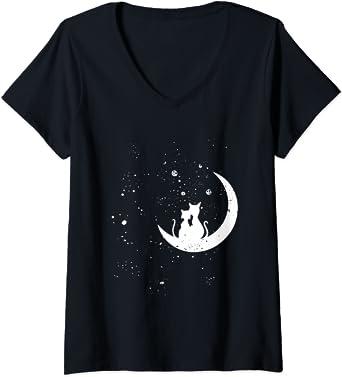Femme Chats regardant les étoiles motif romantique chat galaxie T-Shirt avec Col en V