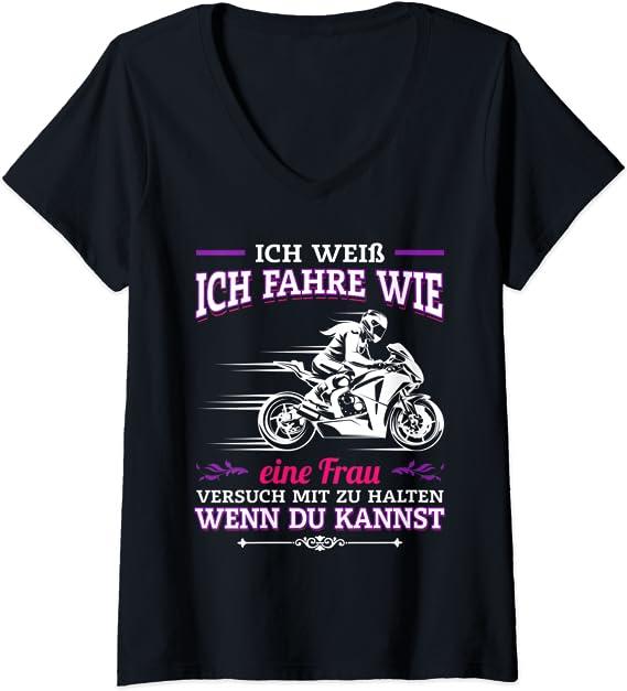 Damen Biker Girl Motorrad Spruch Motorradfahrerin T-Shirt