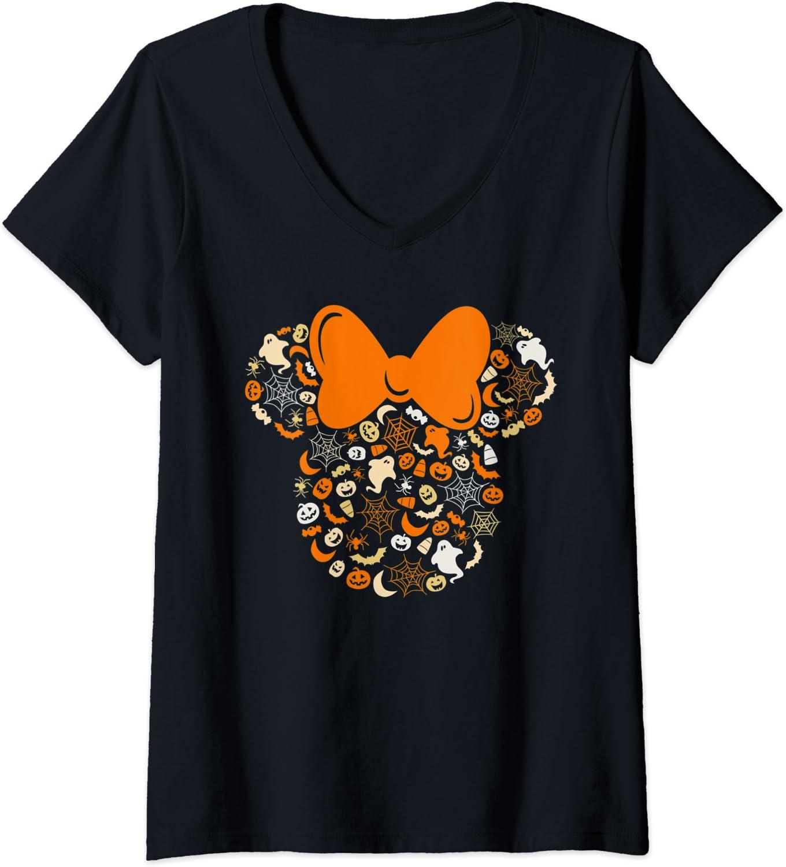 Womens Disney Minnie Mouse Halloween Ghosts Pumpkins Spiders V-Neck T-Shirt
