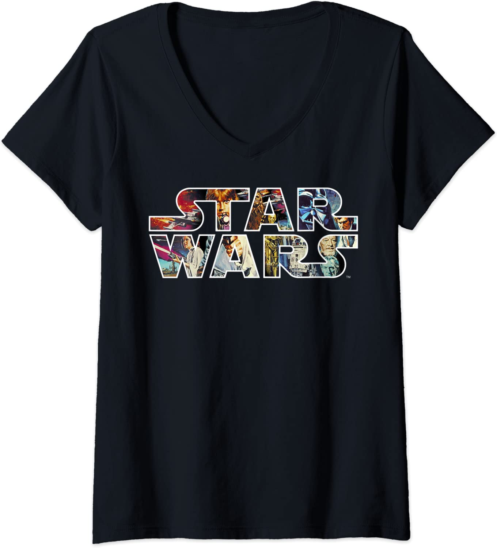 Womens Star Wars Vintage Scene Build-Up Fill Logo V-Neck T-Shirt