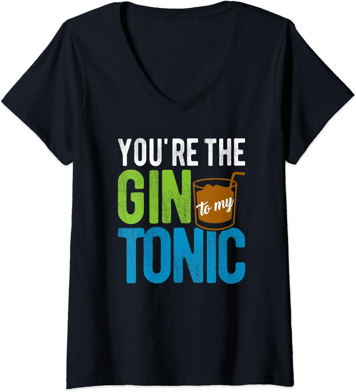 Donna Drinking Meme I Need A Huge Gin and Tonic Funny Maglietta con Collo a V