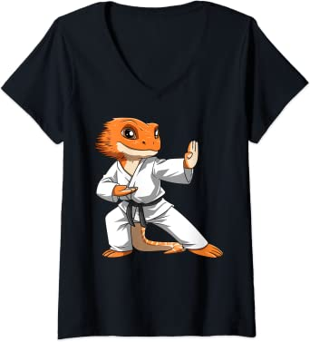 Womens Lizard Karate Bearded Dragon Owners Bearded Dragon Karate V-Neck T-Shirt