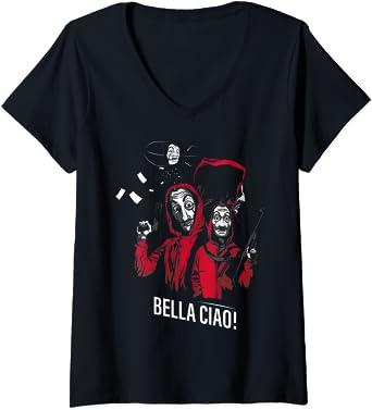 Femme Netflix La Casa De Papel Bella Ciao Group Shot T-Shirt avec Col en V