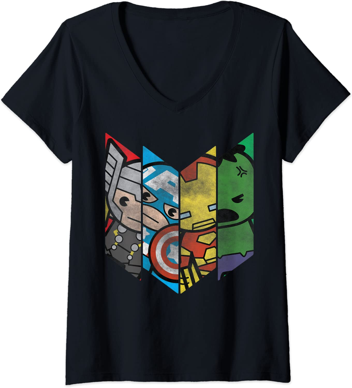Womens Marvel Avengers Kawaii Portrait Panels V-Neck T-Shirt