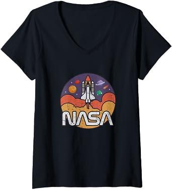 Femme Astronomy NASA Retro Vintage Space Shuttle T-Shirt avec Col en V