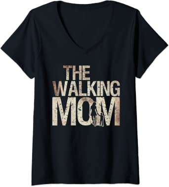 Womens Walking Mom Zombie Woman And Kid Mother's Day Apocalypse V-Neck T-Shirt