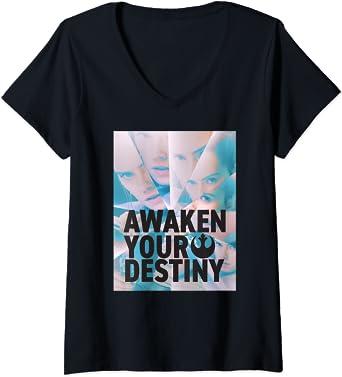 Femme Star Wars Rey Awaken Your Destiny T-Shirt avec Col en V