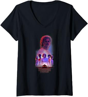 Femme Stranger Things Billy Group Shot T-Shirt avec Col en V