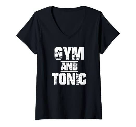 52089e530 Image Unavailable. Image not available for. Color: Womens Gym And Tonic T-Shirt  Athletic Graphic Drinking Workout ...