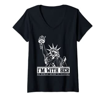dc1db1cf331f Image Unavailable. Image not available for. Color: Womens I'm With Her  Statue of Liberty Shirt - Patriotic Shirts ...