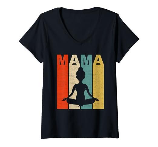 Amazon.com: Womens Mom Vintage Gift Yoga Mama V-Neck T-Shirt ...