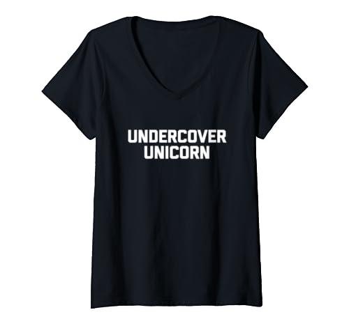 Womens Undercover Unicorn T Shirt Funny Saying Sarcastic Novelty V Neck T Shirt
