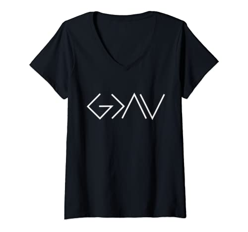 Womens God Is Greater Than Our Highs And Our Lows Know Him V Neck T Shirt