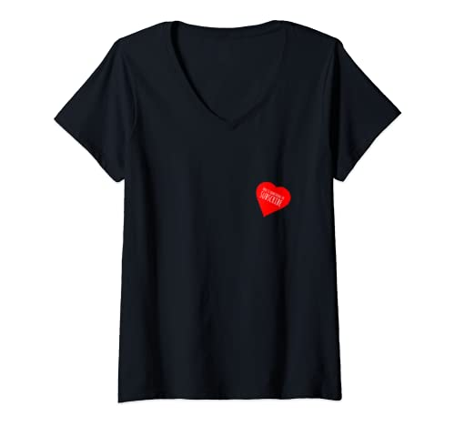 Womens Heart With Here's Something To Subscribe Single V Neck T Shirt