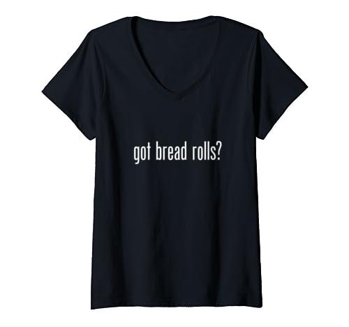 Womens Got Bread Rolls Retro Advert Logo Parody Funny V Neck T Shirt